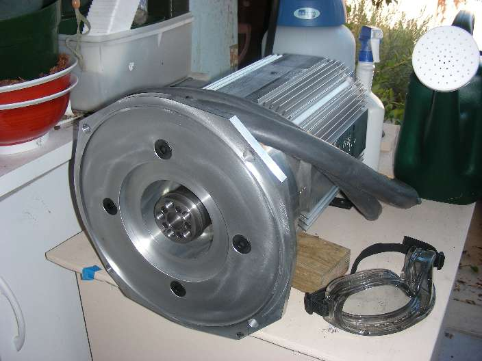 Motor with hub attached